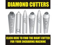 Diamond tip cutters to fit Mastergrave engraving machines, Roland engraving machines, most machines