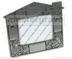 Mastergrave Pewter Baby's Photo Frame - House design with 4 engraving areas