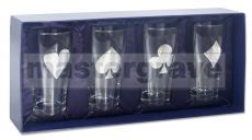 Set of 4 Pint Glasses 'Four Suits' in Pewter in luxuary gift box